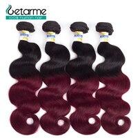 Pre colored 4 Bundles Ombre Brazilian Body Wave Hair Burgundy Bundles T1B/99J Red Color Non Remy Human Hair Weave Bundles