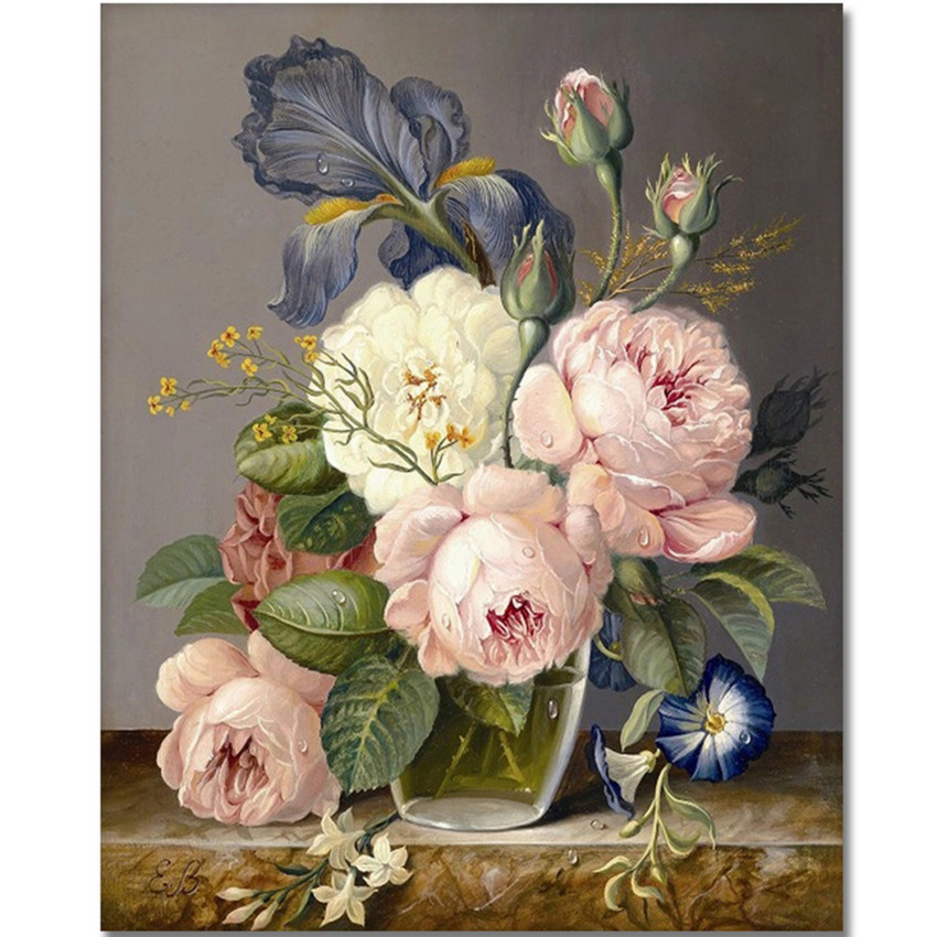 WONZOM Flowers Diy Painting By Numbers Flower Vase Hand Painted Oil On Canvas Wall Art For Living Room Acrylic Paint