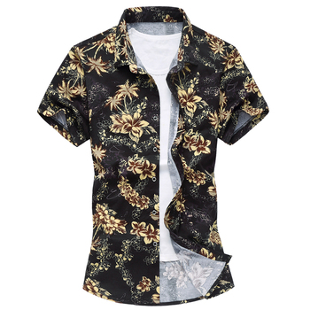 Hawaiian Floral Pattern Print Button Down Shirt. 1