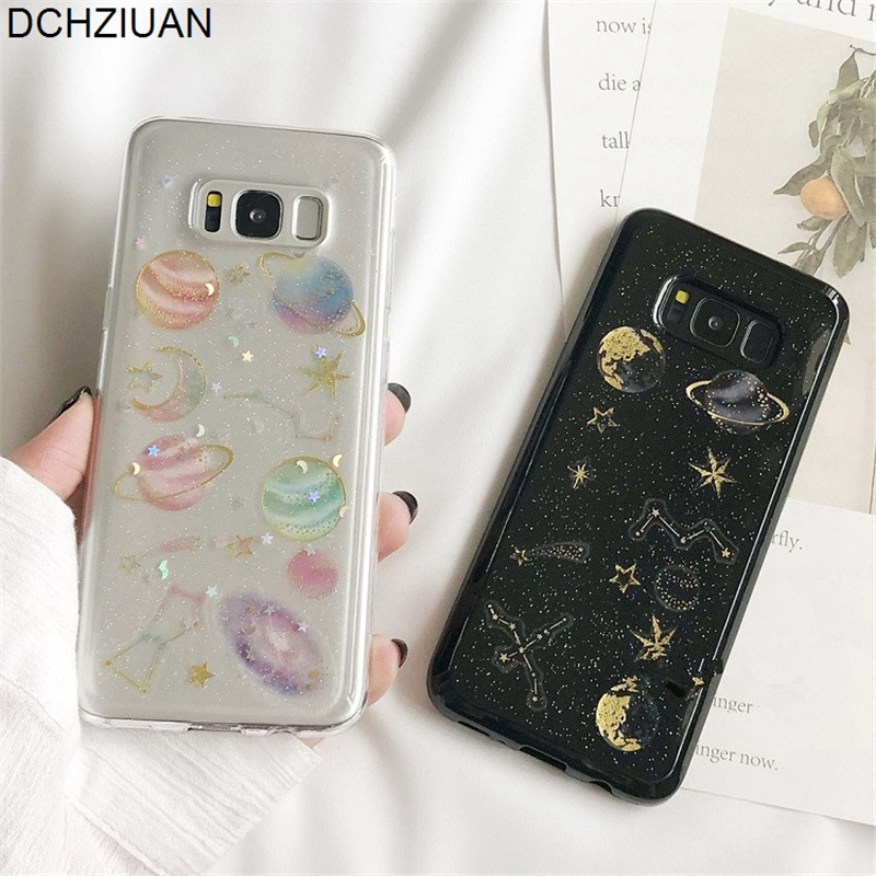 DCHZIUAN Planet Stars Glitter Bling Case For Samsung Galaxy S8 S9 Plus Note 8 NOTE 9 S10 Plus S10 Lite Phone Case Soft Cover