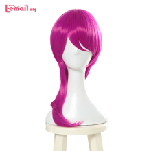L-email wig Game Character LOL KDA Evelynn Cosplay Wigs 45cm Rose Red K/DA Heat Resistant Synthetic Hair Perucas Cosplay Wig