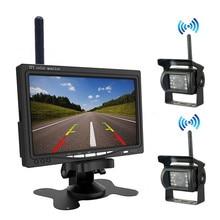 Беспроводной 7 дюймов HD экран автомобильный монитор+ ночное видение HD камера заднего вида для RV Грузовик Автобус Лодка прицеп Кемперы