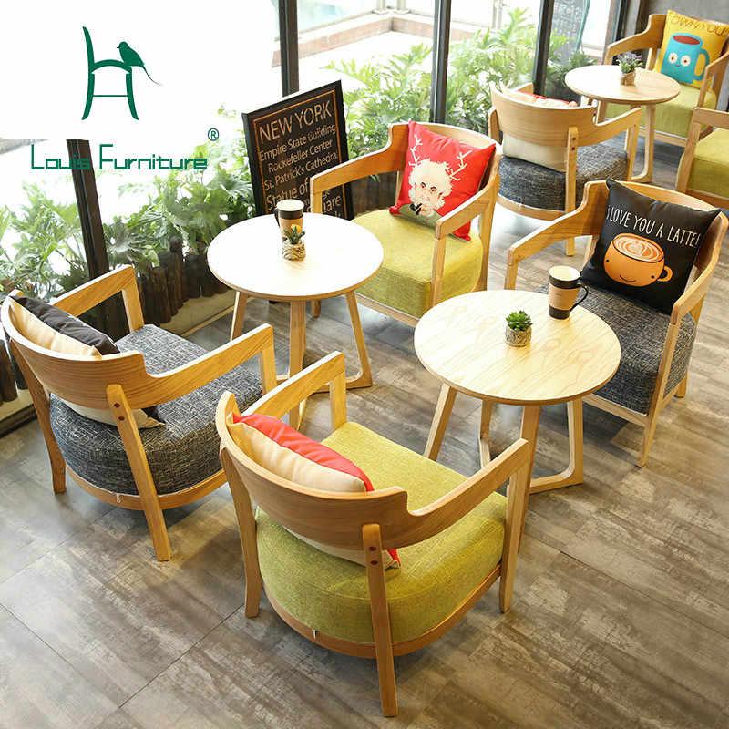 Луи Мода кафе стулья столы Северная Европа стиль западный ресторан из массива