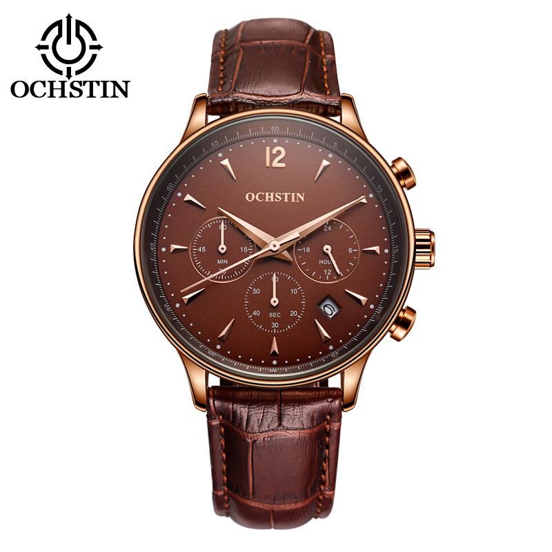 Image 5 - 2017 Top Luxury Brand OCHSTIN Men Sports Watches Men's Quartz Date Clock Man Leather Military Wrist Watch Male Relogio Masculino-in Quartz Watches from Watches