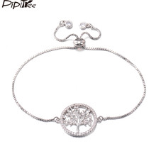 Pipitree Trendy Shiny White AAA Cubic Zircon Life Tree Bracelets for Women Lady White Gold Color Women Wedding Bracelet Jewelry(China)