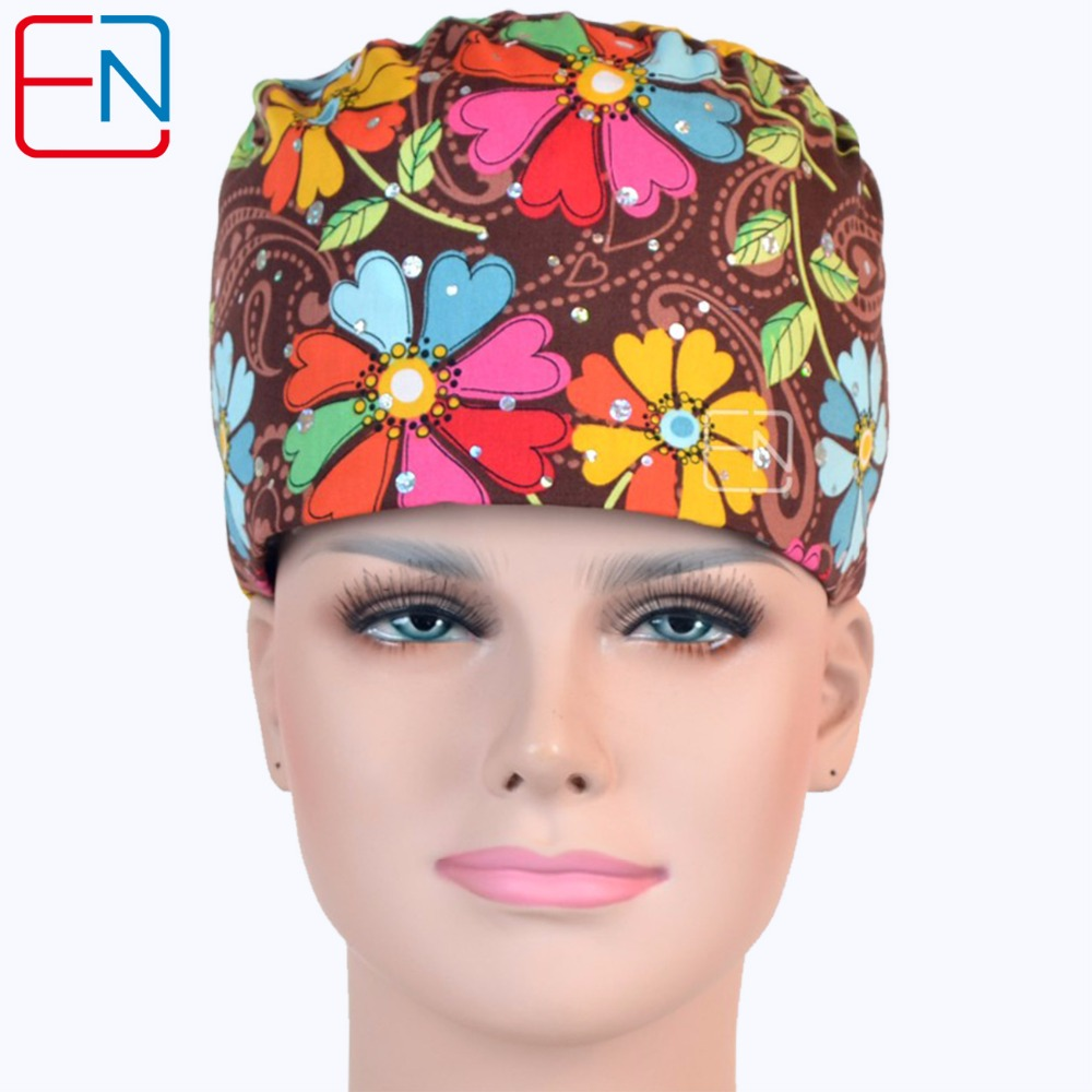 Hennar New Lab Medical Surgical Cap Women 100% Cotton Printed Hospital Medical Scrub Operation Caps Brown Clinic Work Hat