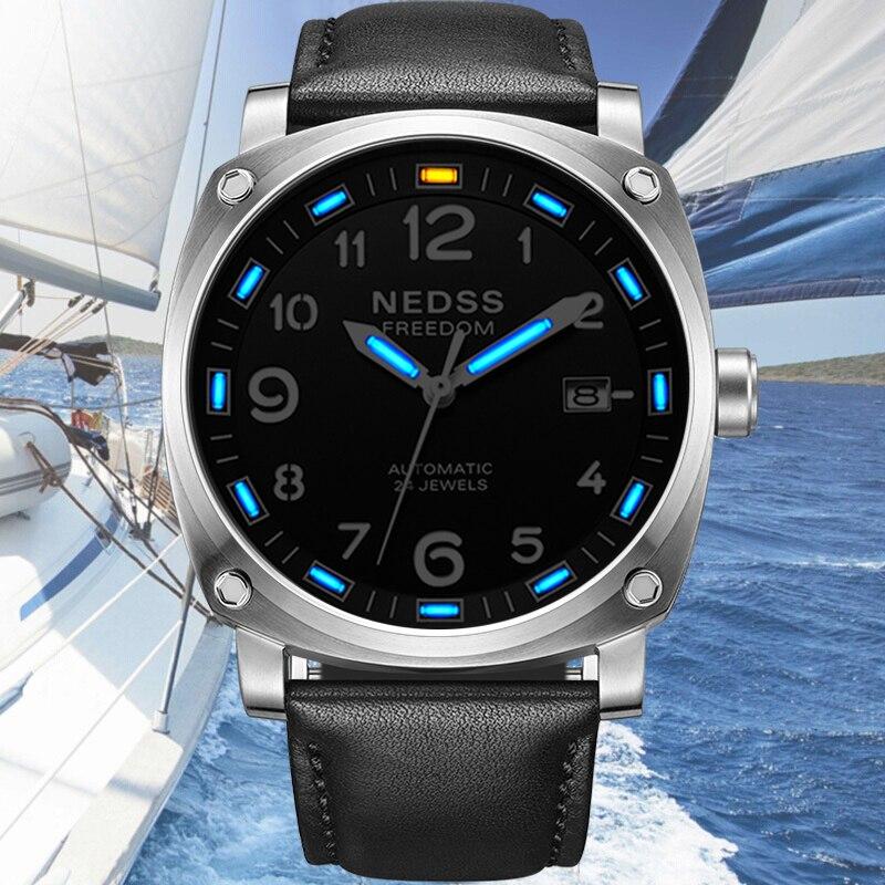 NEDSS Для мужчин механические часы Автоматические Тритий часы кожаный ремешок сапфир мужской военные часы светящиеся стрелки 50 м водонепрони