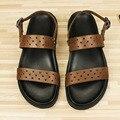 EE.UU. 11 12 13 Gran Tamaño de la Correa Del Tobillo de Cuero REAL Hombres Cut-outs Sandals Casual Top-Tangas Verano Zapatos de la playa