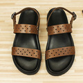 US 11 12 13 Big Size Ankle Strap REAL Leather Men Cut-outs Sandals Casual Top- Thongs Summer Beach Shoes