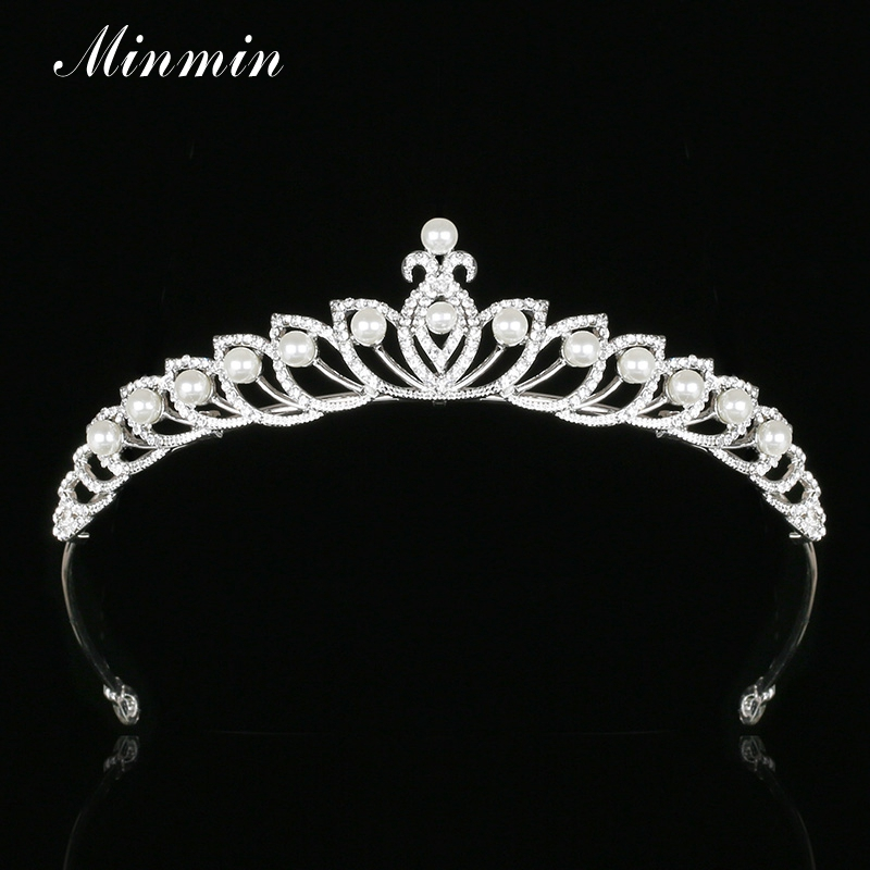 Minmin Trendy Simulated Pearl Tiaras and Crowns Wedding Hair Jewelry Crystal Silver Color Bridal Hair Accessories MHG090