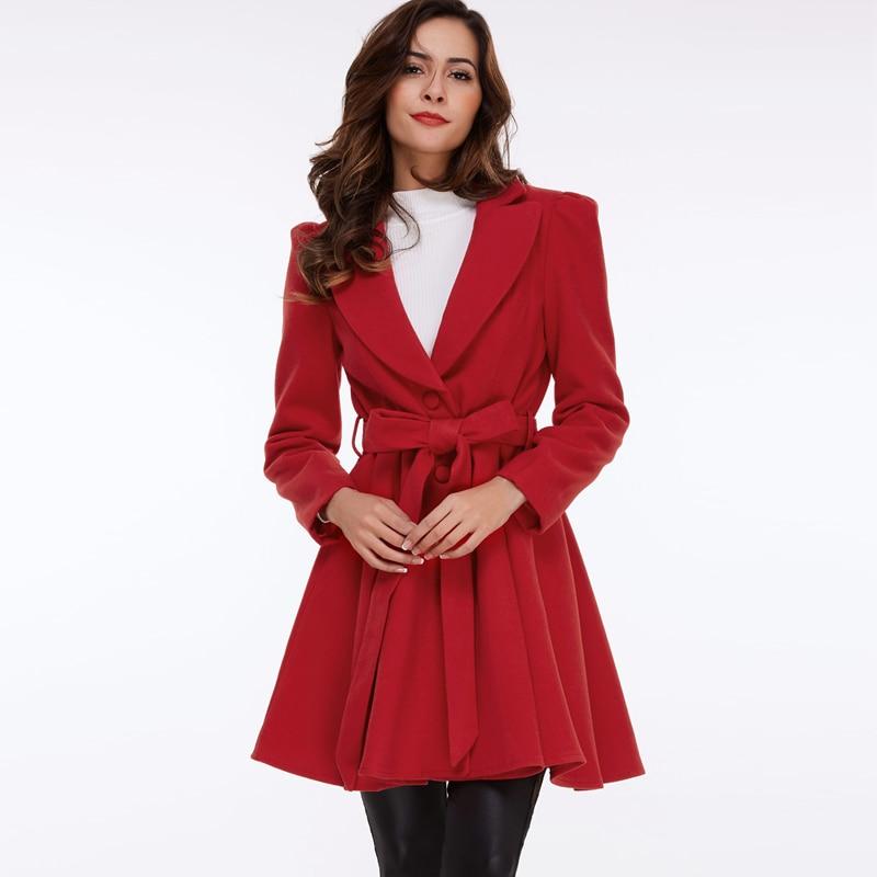clocolor элегантные старинные краткое красный шерстяное пальто женский осень зима turn down воротник v шеи куртка женщин длинное пальто с пояса