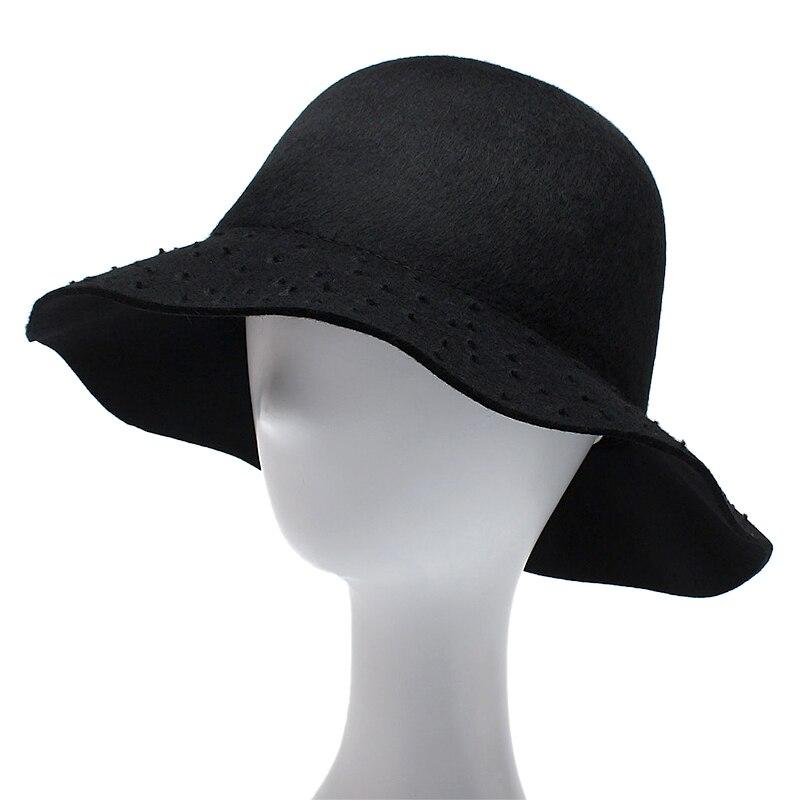 ROSELUOSI 100% Mulheres Lã Cloche Bowler Chapéu Panamá Fedora Chapéus 2017  Outono Inverno Preto Feminino Sombrero Mujer em Fedoras de Acessórios de ... ca1ea439ca6