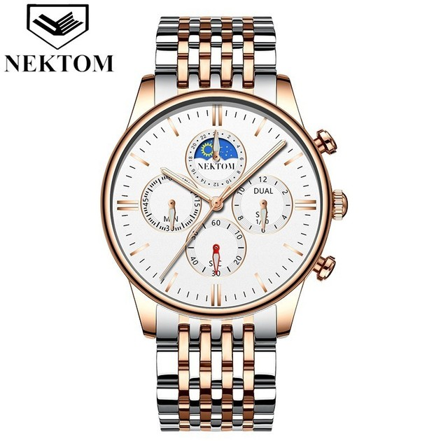 NEKTOM 2019 new fashion casual sports men's watch business stainless steel strap creative waterproof clock Relogio Masculino | Fotoflaco.net