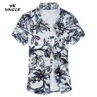YK UNCLE Brand Hawaiian 2017 Summer New Men Short Sleeve Casual Shirt Men's Beach Hawaii Shirts Men Floral Clothes Asia Size 7XL