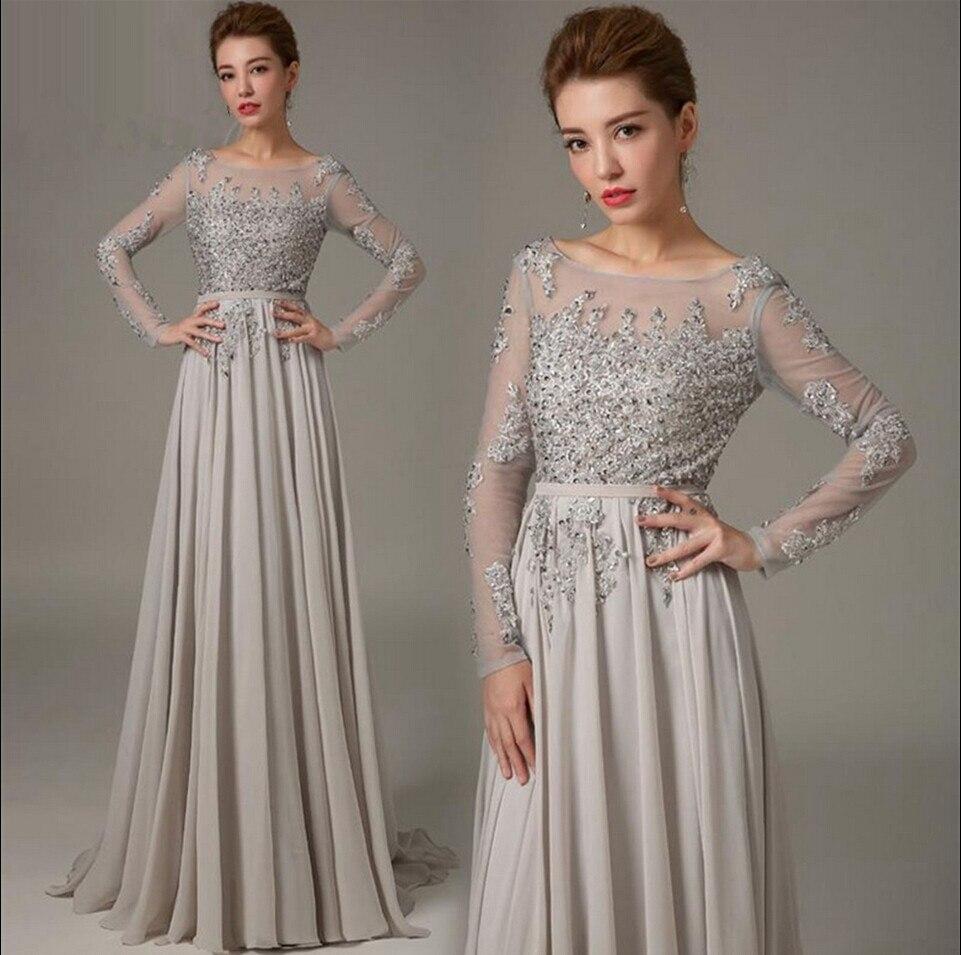 2015 Elegant A line Chiffon Grey Evening Dress Long Sleeves ...