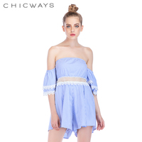 7f1db6307328 Chicways Stripe rompers women jumpsuit playsuit tassel drawstring Lace Up  Off Shoulder Sexy Playsuit flare sleeve