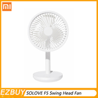 Xiaomi Mijia SOLOVE Desktop Swing Head Fan with base F5 Charging 3 Wind Speed Options Front Mesh Removable Rechargeable For Home