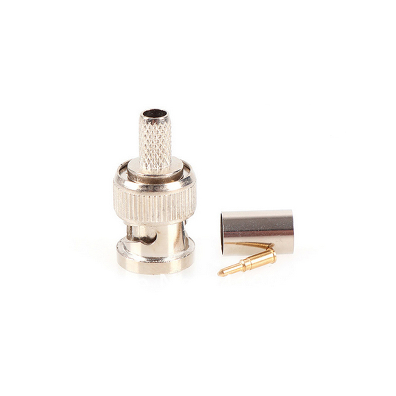 Image 2 - 20pcs/lot BNC male crimp plug for RG59 coaxial cable RG59 BNC Connector BNC male 3 piece crimp connector plugs AC23 Freeshipping-in Transmission & Cables from Security & Protection