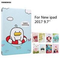 YNMIWEI Cute Cartoon Case For New Ipad 9 7 2017 Luxury Shockproof Silk Tablet Case Cover