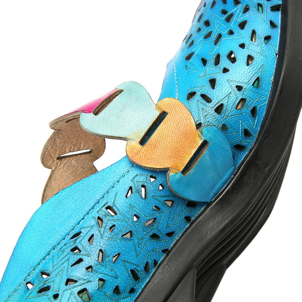 Prova Sommer Frühling Pumpen Schuhe Leder Hohl Echtem Böhmischen Flach Frauen Weibliche purpurrot Blau Komfort out Fersen Einzigen Retro Perfetto Niedrigen r4Ew5qr
