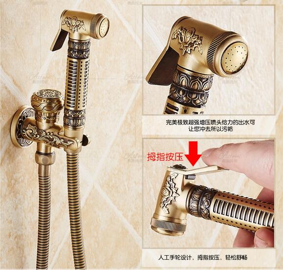 Wall Mounted Antique Toilet Spray Gun Bidet booster nozzle Top valve Shower Rinse Mixer Women water faucet Hose+Holder+Sprayer metal hose nozzle high pressure water spray gun sprayer garden auto car washing