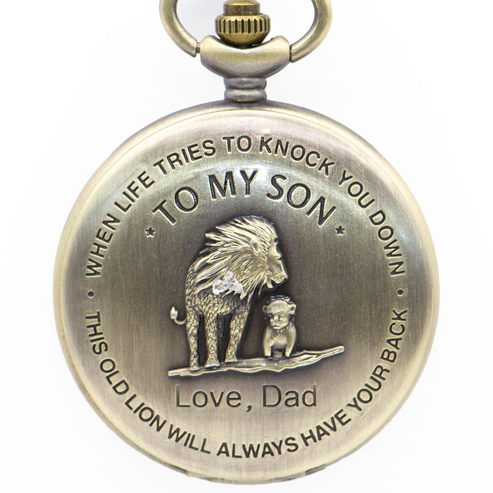 TO MY SON Movie The Lion King Cover Pendant Quartz Pocket Watch Men Retro Bronze Necklace Chain Clock Gifts For Boys Son