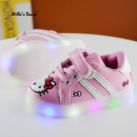 High Quality Led Shoes For Childrens 2017 Summer Hello Kitty Kid S Shoes Girls Casual Shoes