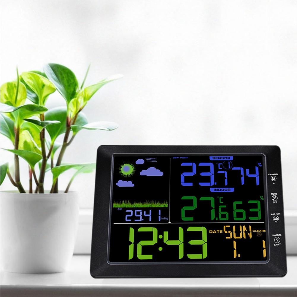 цена на TS-8210 Multifunctional Wireless Color Screen Weather Station Clock Wireless Indoor And Outdoor Thermometer Clock