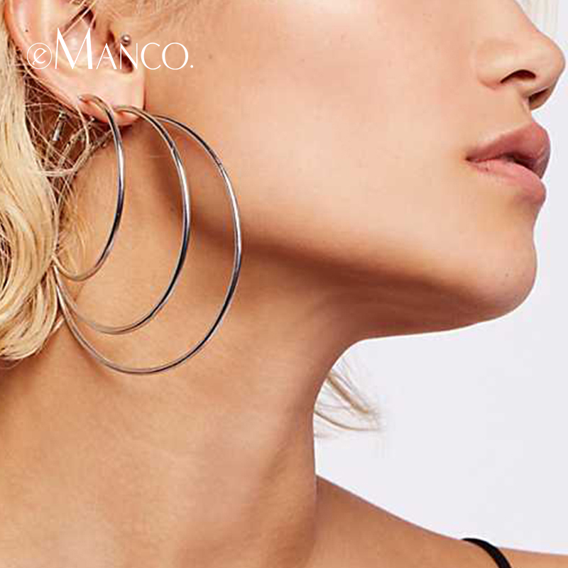 E-Manco 925 Sterling Silver Earring Multi Size Earring Geometric Round Circle Drop Earrings For Women Fine Jewelry Two Colors