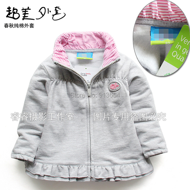 new 2014 gray spring and autumn girl's outerwear cardigan top baby long-sleeve coat baby casual jackets
