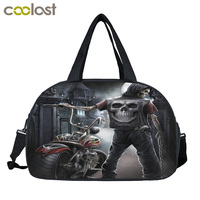 Punk Skull Motorcycles Men Travel Bags Carry on Luggage Bag Women Duffle Totes Weekend Portable Bags Large Capacity Folding Bag
