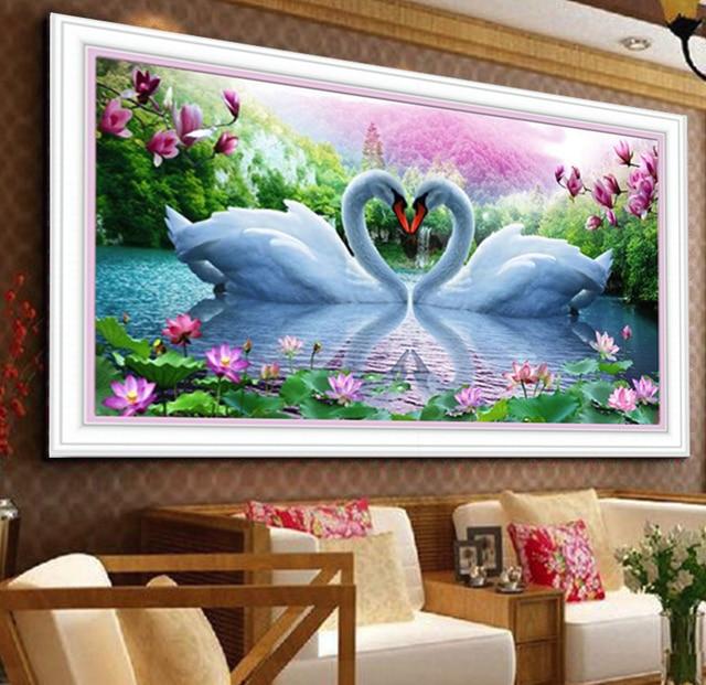 5d diy diamond painting swan mosaic art needlework rhinestone pasted cross  stitch animal wedding diamond swans 1d67ca9626b1