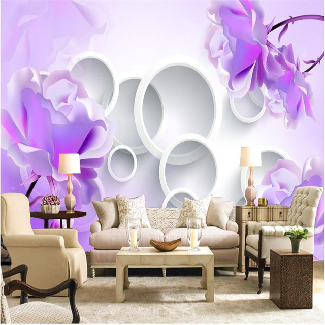 large painting home decor purple lotus flower circle hotel background modern mural for living room murales - Purple Hotel Decor