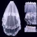 Free shipping Wholesale hot selling 60*80cm bridal veil wedding veil white lace plus double layers comb veils