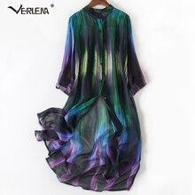 Verlena, восхитительное платье из шелка с градиентным узором, плиссе, прозрачный кардиган, длинная рубашка, платье со стоячим воротником, прямые платья