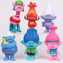6Pcs/Set 2016 DREAMWORKS Movie Trolls Poppy DJ Suki Guy Diamond Cooper Branch Critter Skitter Boards 6cm PVC Action Figures Toys