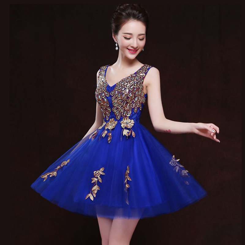 Robe demoiselle d'honneur new sexy V neck tulle applique peacock pattern royal blue burgundy purple rose red   bridesmaid     dresses