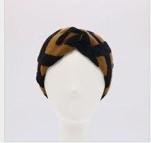 Damska mieszanka wełny żakardowej elastyczna opaska na włosy opaska do włosów