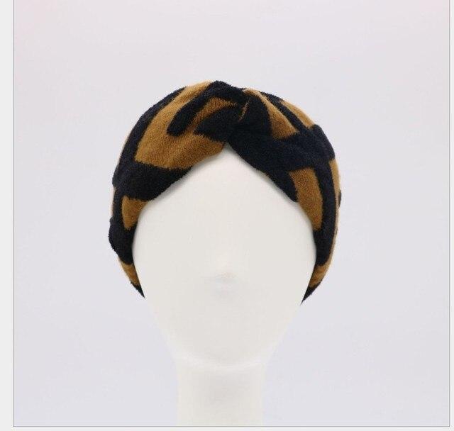 Kadın jakarlı yün karışımı elastik örgü bantlar saç bandı