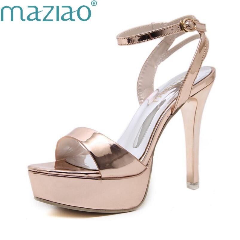 Haute Talons Sandales Peep-toe Chaussures De Mariage D'été Femmes En Cuir Confortable Plate-Forme Classiques Chaussures Dames Sexy Partie MAZIAO