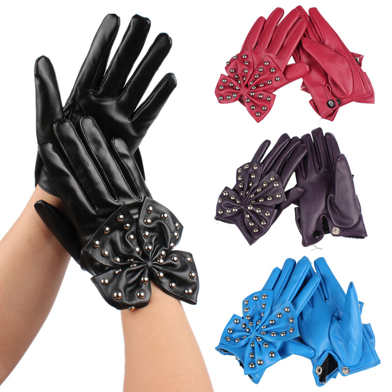 Fashion Lady Girl Soft PU Leather Fingers Gloves With Rivets Butterfly Bow Decoration High Quality