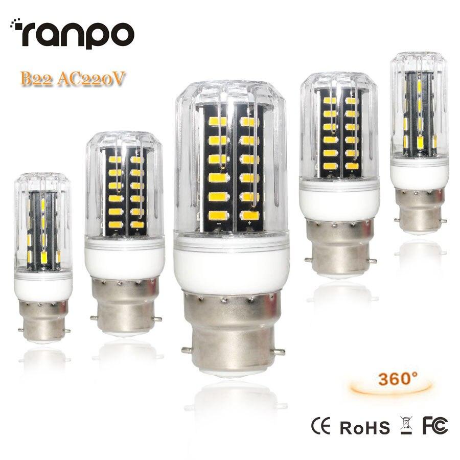 1Pcs B22 Bayonet Led Lamp 7W 12W 15W 24W 7030 7020 SMD AC 220V Bombillas Saveing Energy Corn Lights Chandelier Home Lighting