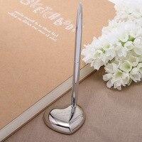 Freies Verschiffen Silber Metall Personalisierte Hochzeit Stift Mit Halter Maßgeschneiderte Geschenk Für Braut Bräutigam