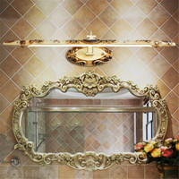 European Classical Luxurious White/Gold Carved Resin Led Mirror Light for Bathroom Bedroom Cabinet 54/68cm Resin Wall Lamp 2224