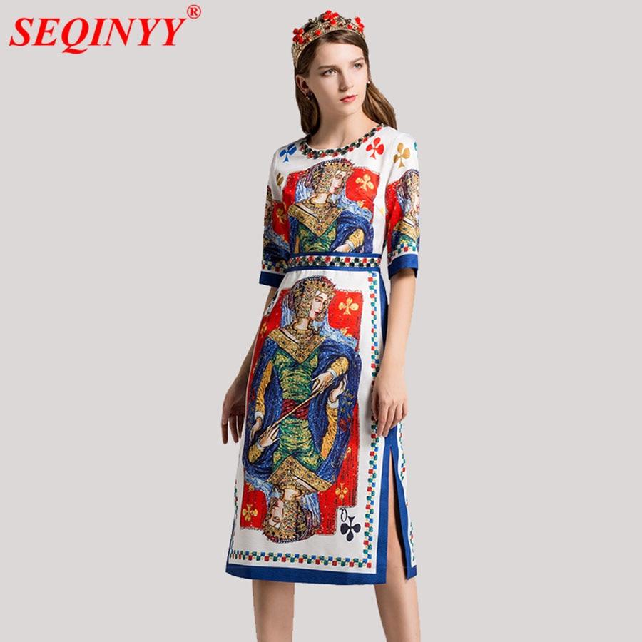 Located Print Retro Women Dress 2018 Spring High End Half Sleeve Palace Print Cultivate Temparement A-Line Side-Split Mid Dress