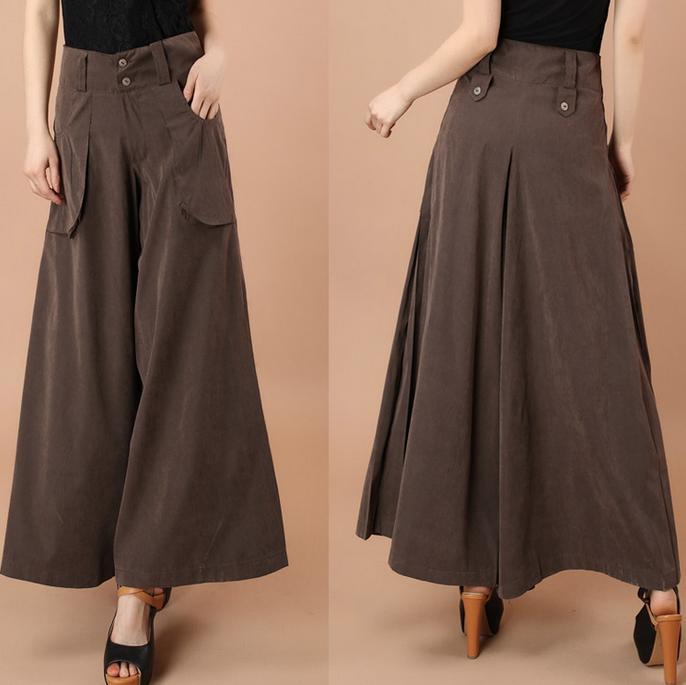 Высокая талия широкие брюки размера плюс женские повседневные брюки капри с карманами свободные брюки 4XL - Цвет: Коричневый