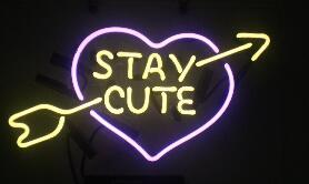 Stay Cute Glass Neon Light Sign Beer Bar