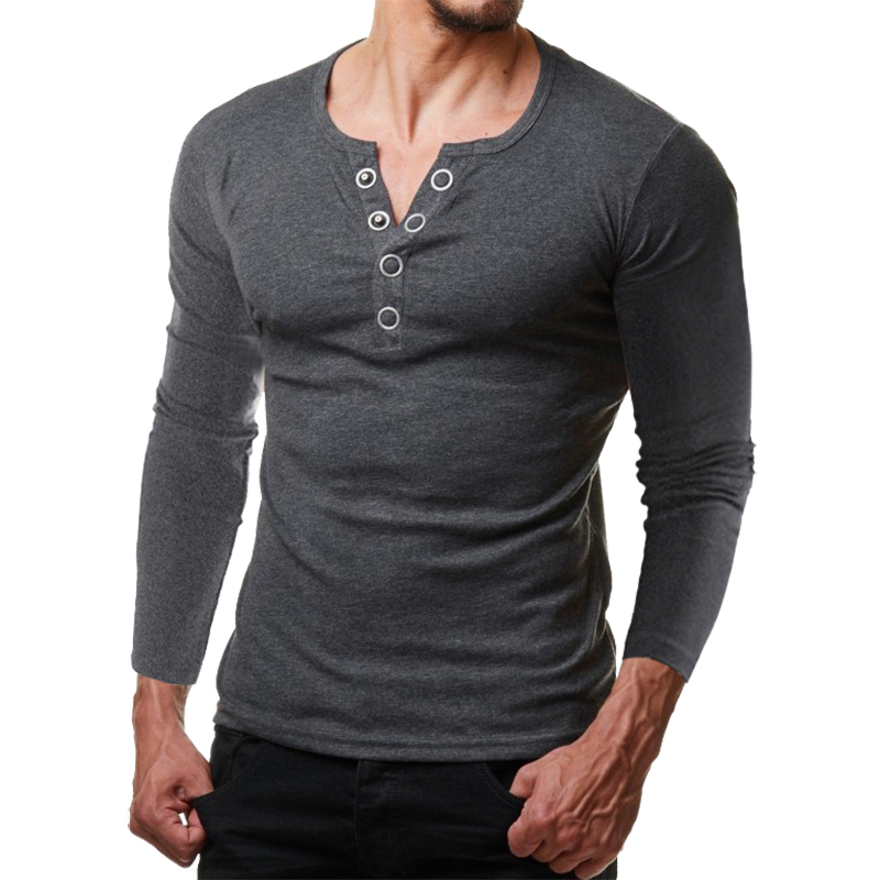 New Metal Button Henley Long Sleeve T Shrit Men 2018 Autumn New Slim Fit Mens Casual T Shirts Breathable Soft Tee Shirt Homme