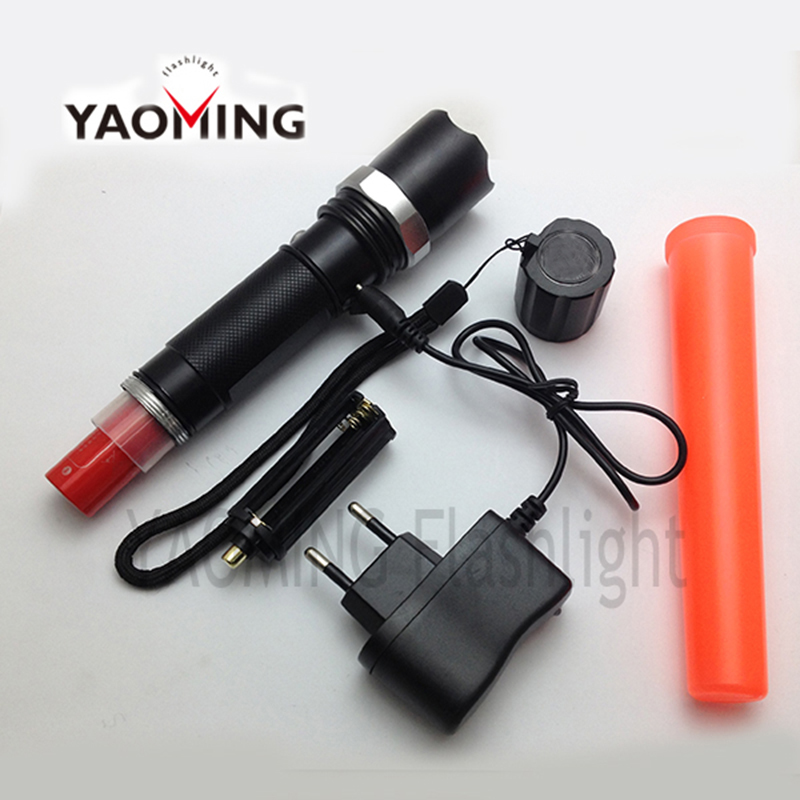 Led Flashlight Tactical high power CREE Q5 3 modes Zoomable traffic wand flashlight torch police led lantern linternas by 18650