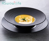 Black Ceramic Salad Plate Pasta Wide Side Dish Western Style Soup Plate Dishes And Plates Sets Piatti Ceramica For Dinner Plates
